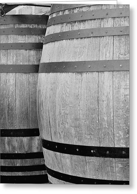 Nappa Valley Greeting Cards - Wine Barrels BW Greeting Card by Jenny Hudson