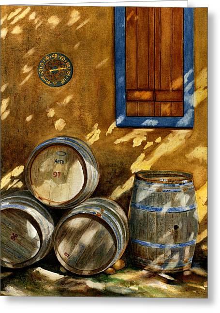Wine Vineyard Paintings Greeting Cards - Wine Barrels Greeting Card by Karen Fleschler