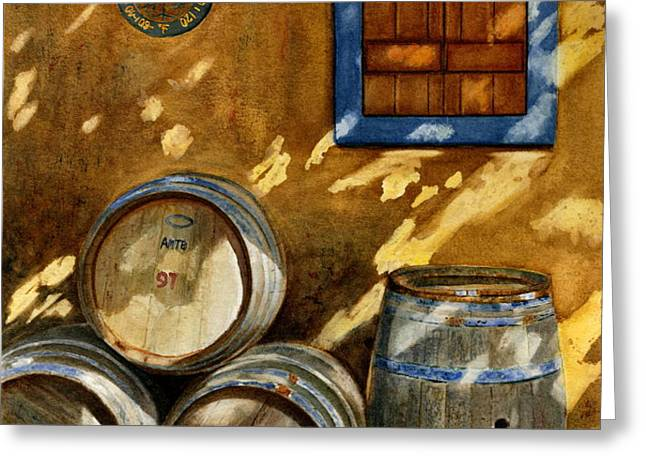 Wine Barrels Greeting Card by Karen Fleschler