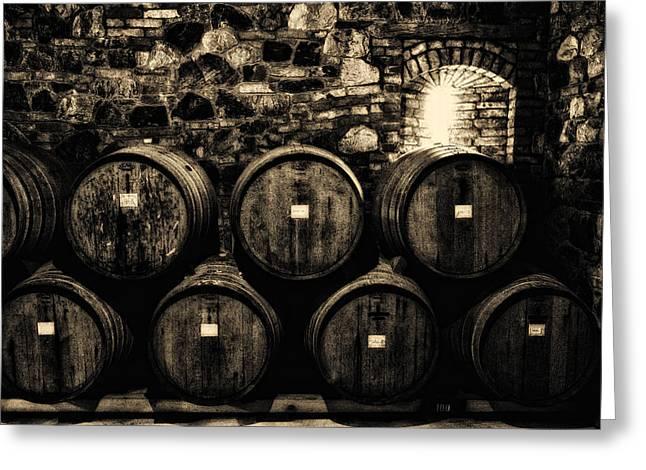 Winery Photography Greeting Cards - Wine Barrels Greeting Card by Laszlo Rekasi