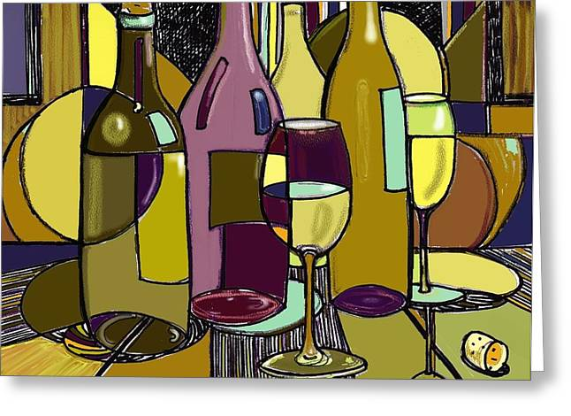 Wine Deco Art Mixed Media Greeting Cards - Wine Bottle Deco Greeting Card by Peggy Wilson