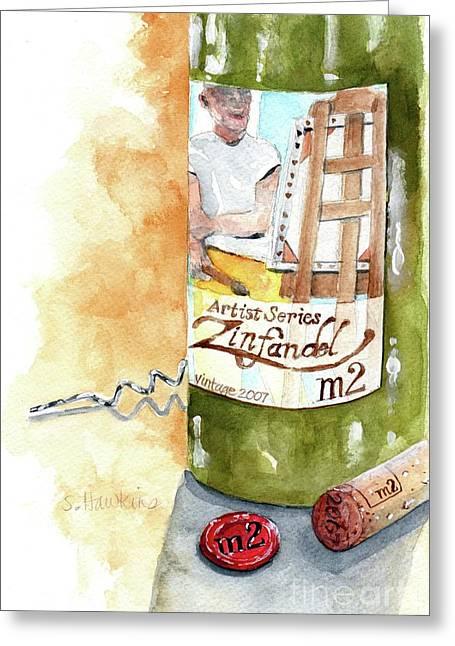 Mermaidspalette Greeting Cards - Wine Bottle Still Life- M2 Zinfandel Greeting Card by Sheryl Heatherly Hawkins
