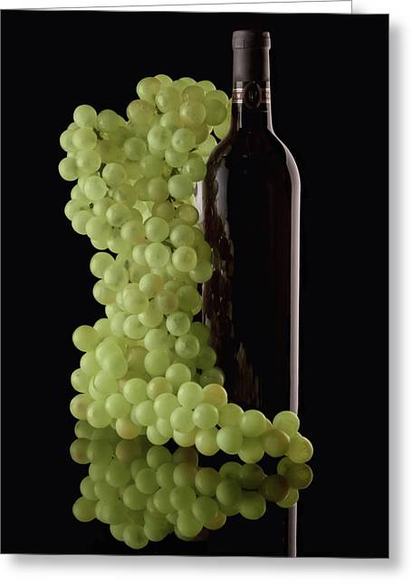 White Grapes Greeting Cards - Wine Bottle with Grapes Greeting Card by Tom Mc Nemar