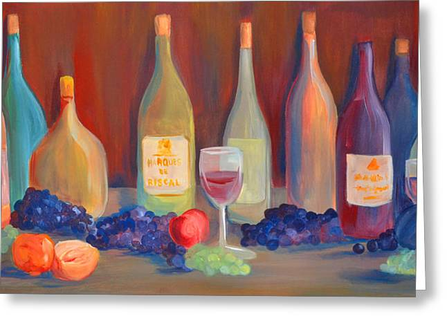 Bottle Of Colors Greeting Cards - Wine Bottles Greeting Card by Claudia