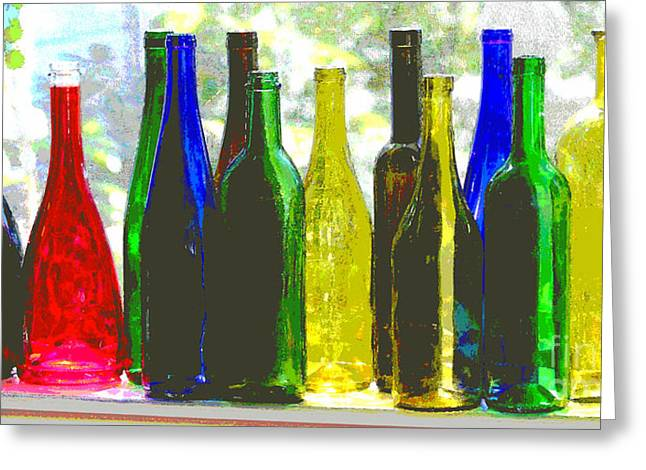 Red Wine Prints Greeting Cards - Wine Bottles Greeting Card by Diana  Tyson