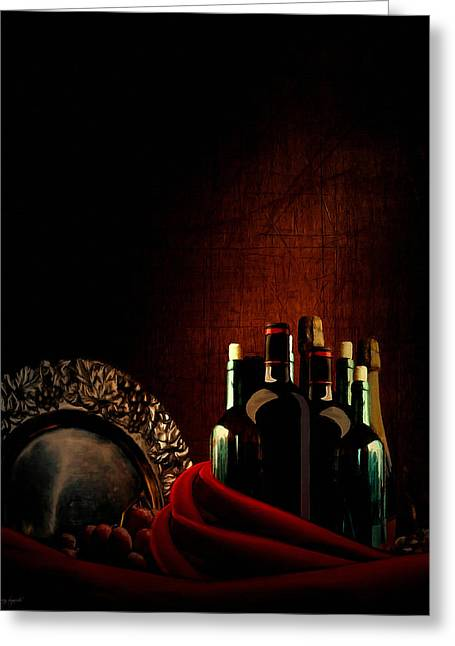 Red Wine Bottle Greeting Cards - Wine Break Greeting Card by Lourry Legarde