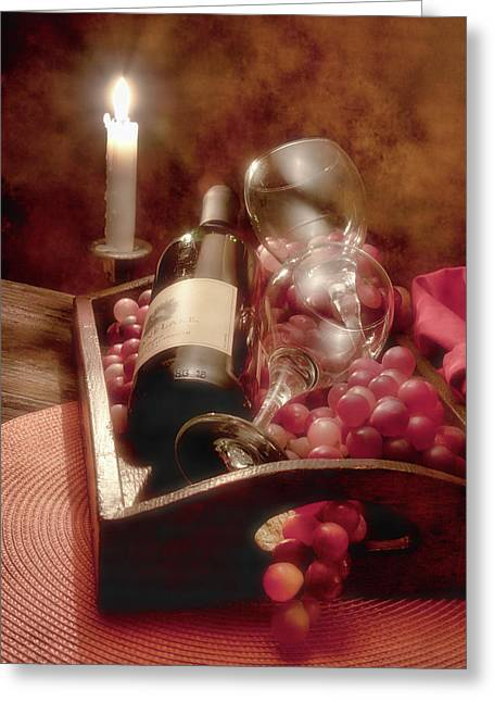 Cloth Greeting Cards - Wine by Candle Light II Greeting Card by Tom Mc Nemar