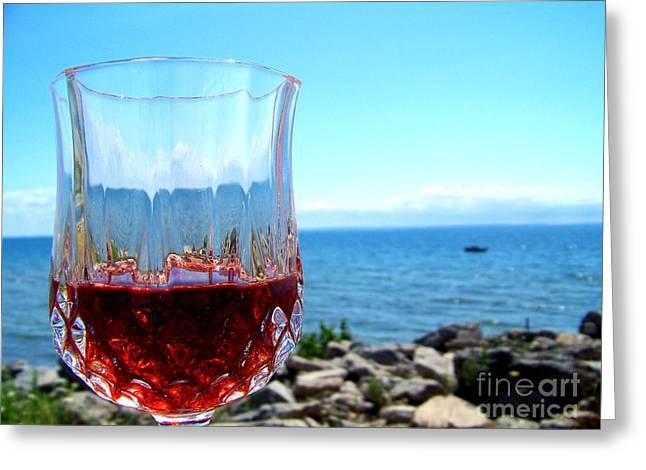 Wine By The Water Greeting Card by Deborah MacQuarrie-Haig