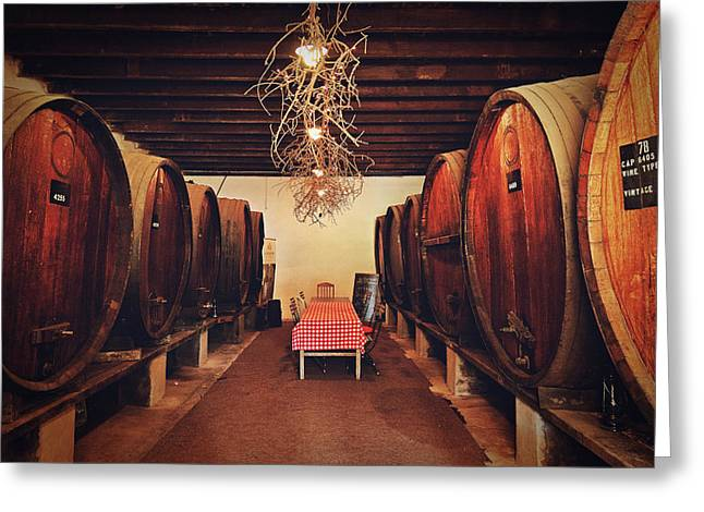 Winemaking Greeting Cards - Wine Cellar Greeting Card by Benjamin Matthijs