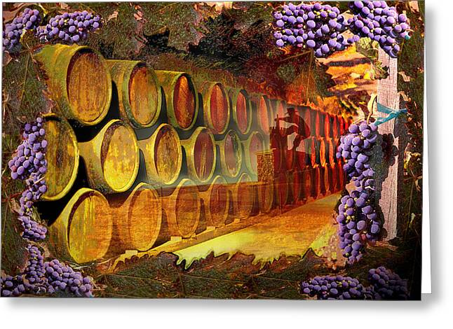 Wine Grapes Pyrography Greeting Cards - Wine Cellar Greeting Card by Richard Nickson