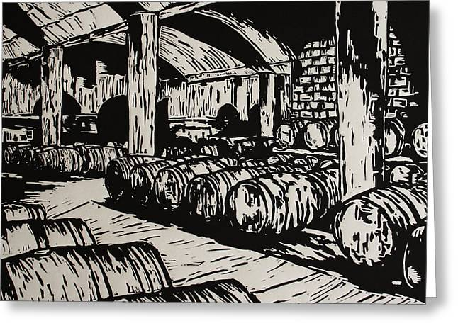Cellar Drawings Greeting Cards - Wine Cellar Greeting Card by William Cauthern