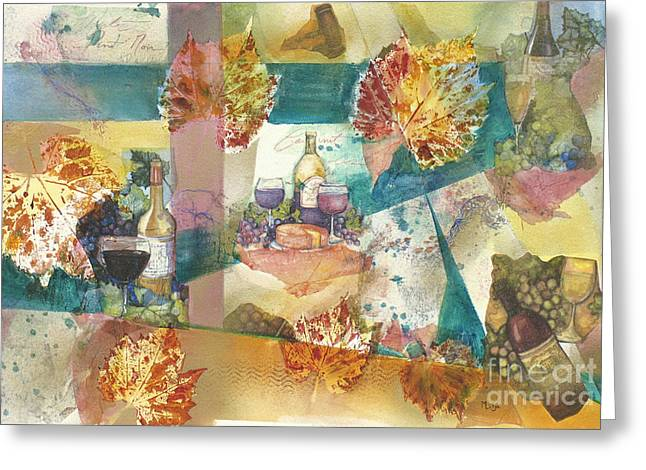 Grape Leaves Mixed Media Greeting Cards - Wine Collage Greeting Card by Midge Lilja
