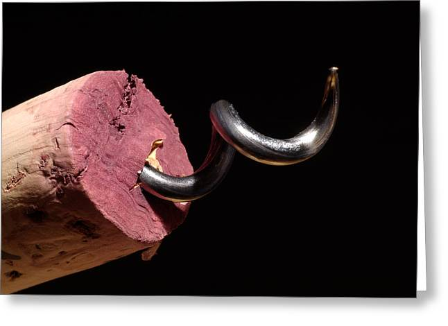 Wine Deco Art Photographs Greeting Cards - Wine Cork And Cork Screw Greeting Card by Frank Tschakert