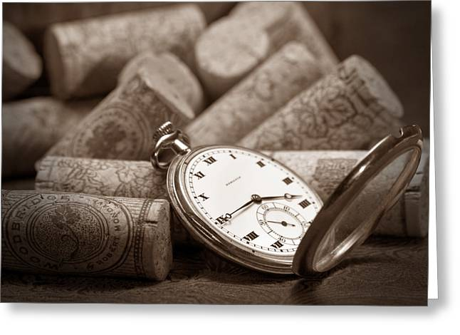 Pocket Watch Greeting Cards - Wine Corks Still Life VI Aged to Perfection Greeting Card by Tom Mc Nemar
