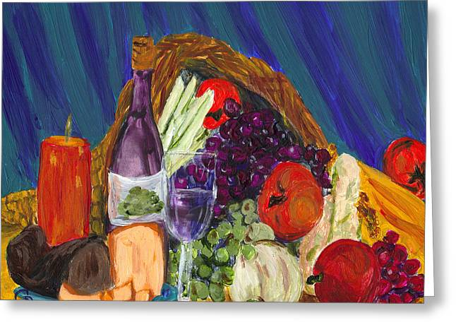 Gail Daley Greeting Cards - Wine Cornucopia Greeting Card by Gail Daley