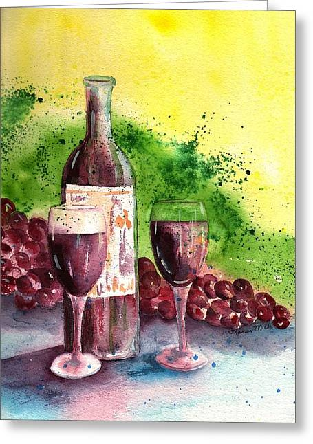 Hanging Wine Glasses Greeting Cards - Wine for Two - 2 Greeting Card by Sharon Mick