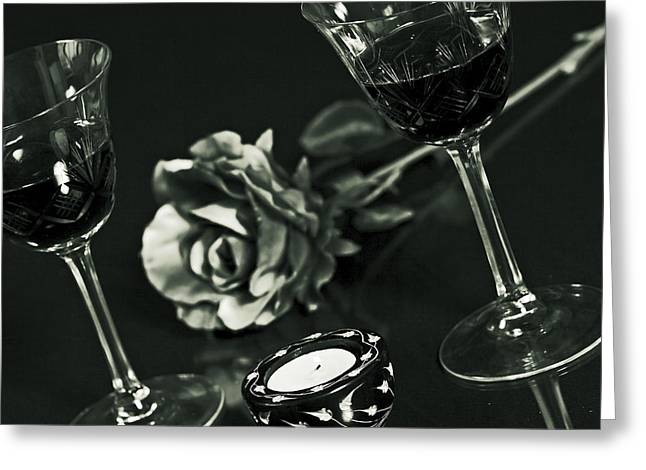Table Wine Greeting Cards - Wine For Two Greeting Card by Joana Kruse