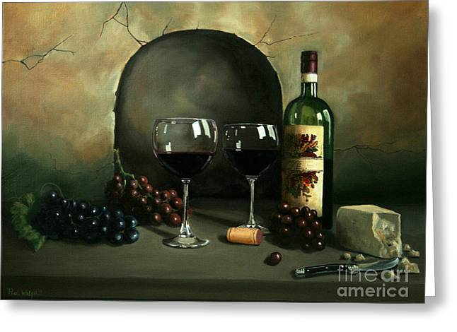 Best Sellers -  - Concord Greeting Cards - Wine For Two Greeting Card by Paul Walsh