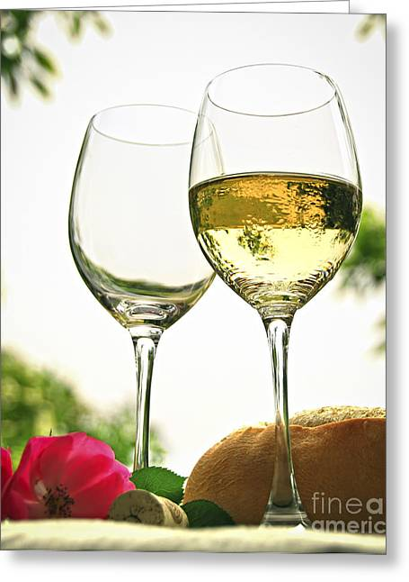Table Wine Greeting Cards - Wine glasses Greeting Card by Elena Elisseeva