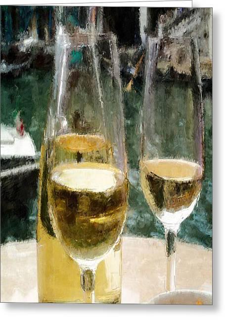 Wine Scene Greeting Cards - Wine Glasses Greeting Card by Joseph Contello