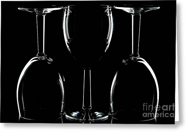 Goblet Greeting Cards - Wine glasses on black Greeting Card by Richard Thomas