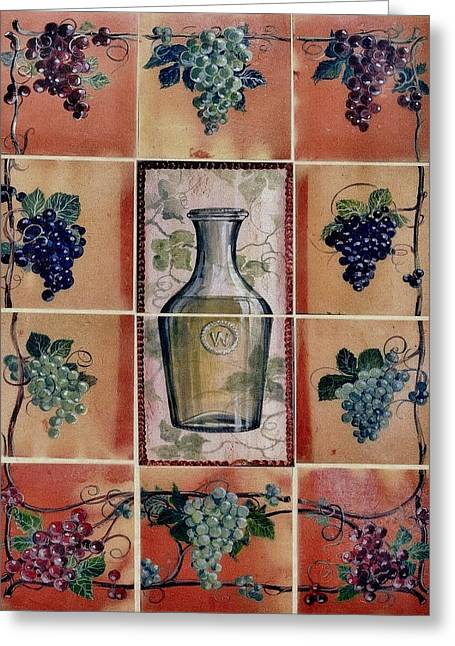 Food And Beverage Ceramics Greeting Cards - Wine Grape Mural Greeting Card by Andrew Drozdowicz