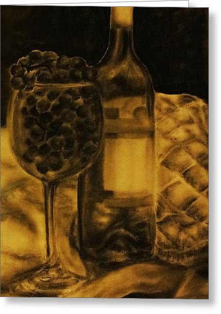 Glass Bottle Greeting Cards - Wine Grapes Greeting Card by Tylir Wisdom
