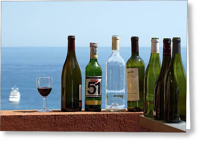 Wine in Mandatory in France Greeting Card by Chris Ann Wiggins