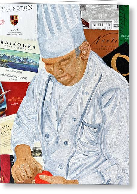 Wine Label Chef Greeting Card by Michael Lee