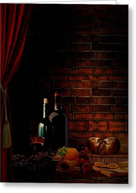 Fruit And Wine Digital Greeting Cards - Wine Lifestyle Greeting Card by Lourry Legarde