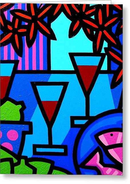 Flower Still Life Prints Greeting Cards - Wine Limes Flowers and Fish Greeting Card by John  Nolan