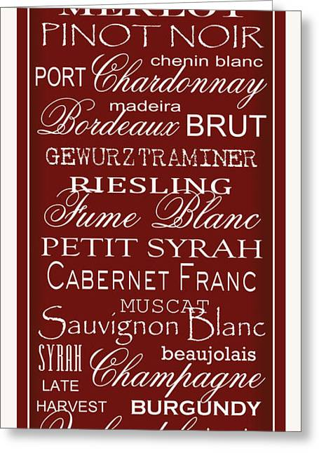 Syrah Greeting Cards - Wine List Red Greeting Card by Rebecca Gouin