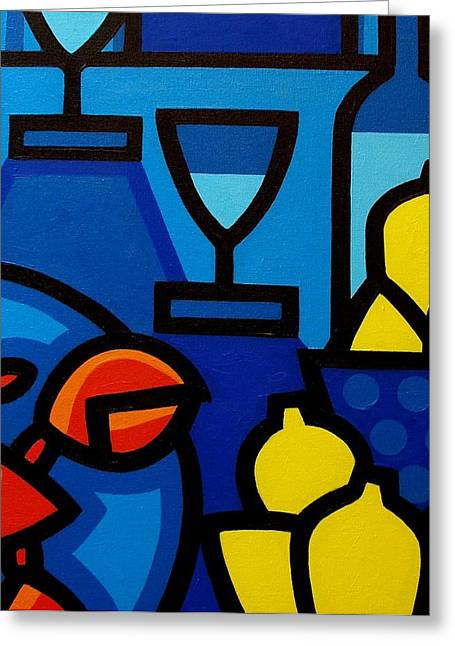 Glass Bottle Greeting Cards - Wine Lobster Lemons  Greeting Card by John  Nolan