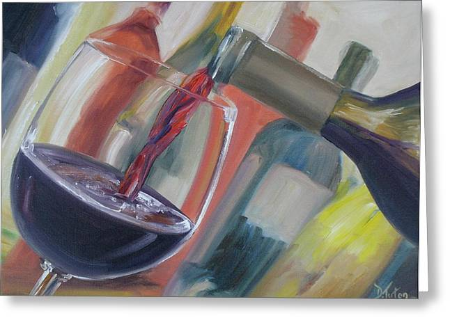 Pouring Wine Greeting Cards - Wine Pour Greeting Card by Donna Tuten