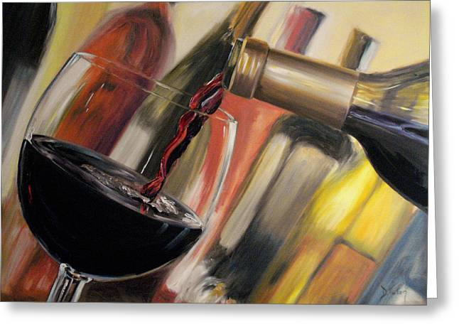 Red Wine Bottle Greeting Cards - Wine Pour II Greeting Card by Donna Tuten