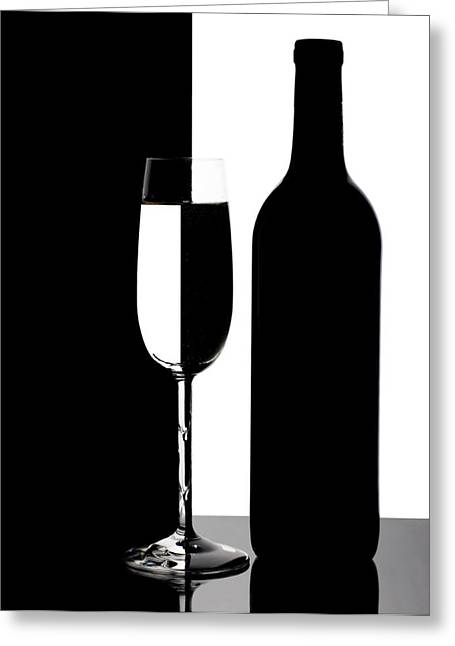 Wine-bottle Greeting Cards - Wine Silhouette Greeting Card by Tom Mc Nemar