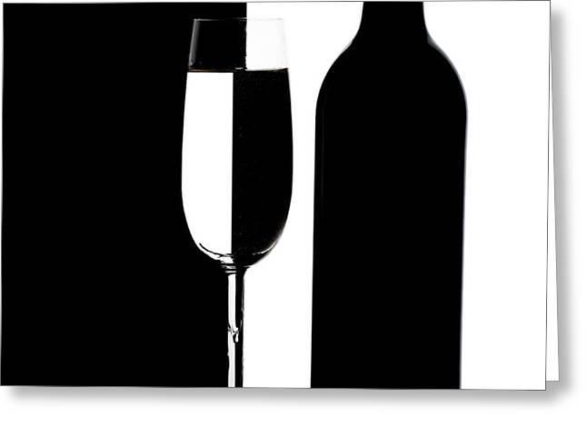 Wine Silhouette Greeting Card by Tom Mc Nemar
