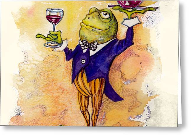Wine Steward Toady Greeting Card by Peggy Wilson