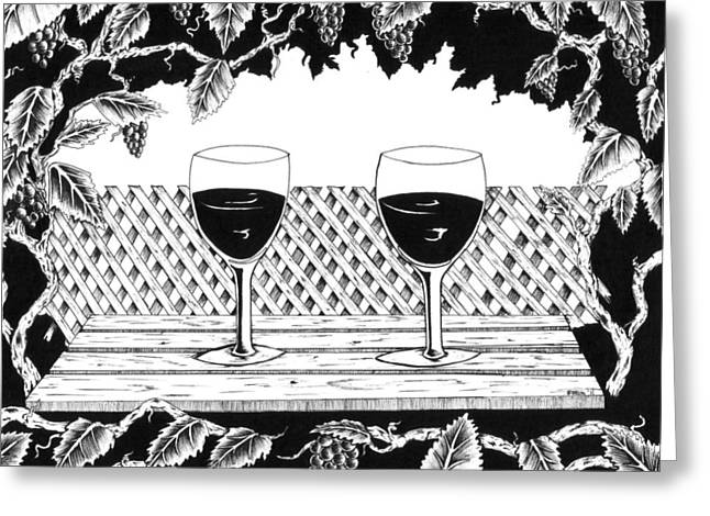 Pinot Drawings Greeting Cards - Wine Time Greeting Card by Bob Veon