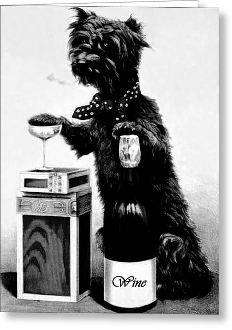 Puppies Greeting Cards - Wine Greeting Card by Tisha McGee