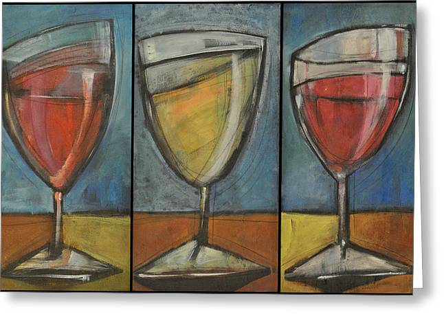 Stylized Beverage Greeting Cards - Wine Trio - Option One Greeting Card by Tim Nyberg