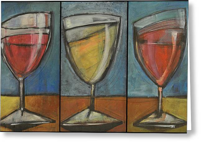 Stylized Beverage Greeting Cards - Wine Trio Option 2 Greeting Card by Tim Nyberg