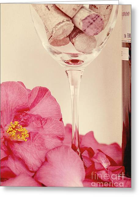 Kim Photographs Greeting Cards - Wine with Camellia Greeting Card by Kim Fearheiley