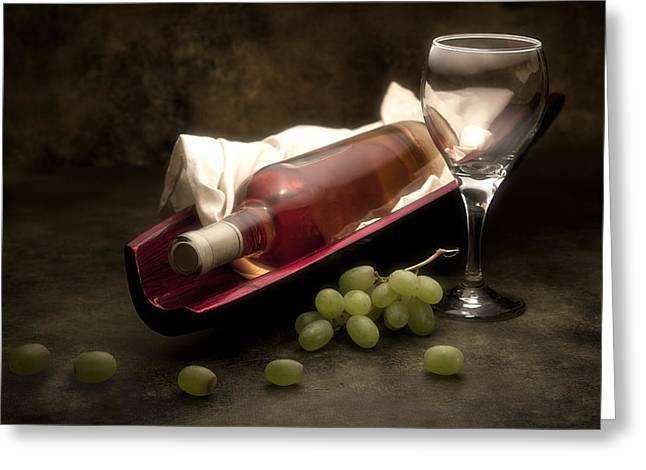 Wine-glass Greeting Cards - Wine with Grapes and Glass Still Life Greeting Card by Tom Mc Nemar