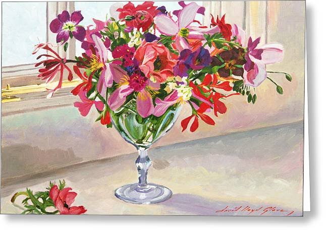 Floral Still Life Greeting Cards - Wineglass Arrangement Greeting Card by David Lloyd Glover