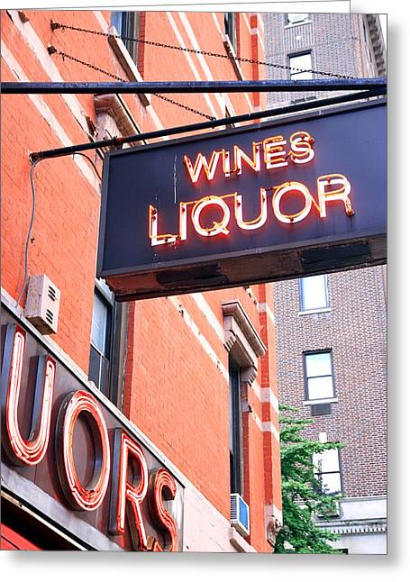 Iron Greeting Cards - Wines and Spirits Sign Greeting Card by Valentino Visentini