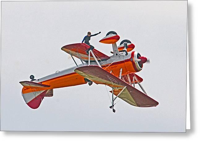 Barnstormer Greeting Cards - Wing Walker 02 Greeting Card by Jeff Stallard