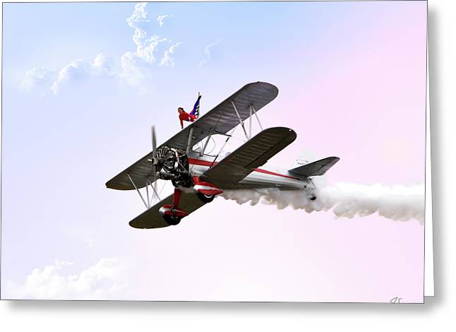 Stunt Flyer Greeting Cards - Wing Walker  Greeting Card by Endre Balogh