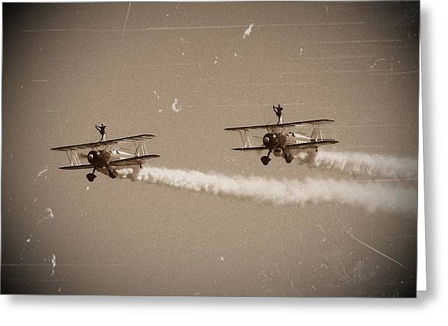 Arial Greeting Cards - Wing Walkers Greeting Card by Sharon Lisa Clarke