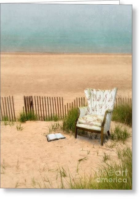Cushion Greeting Cards - Wingback Chair at the Beach Greeting Card by Jill Battaglia